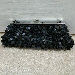 Nicole Lee matte black sequin clutch